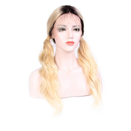 full lace wig blonde long UK - Ombre Blonde Lace Frontal Human Hair Wigs For Black Women Pre Plucked With Baby Hair 1B 613 Brazilian Remy Full Lace Wigs