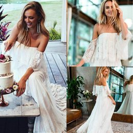 robe sizes chart NZ - Elegant Lace Country Strapless Wedding Dresses Garden Spring Summer Boho Bohemian Ball Bride Marriage robe de mariée Plus Size Bridal Gown