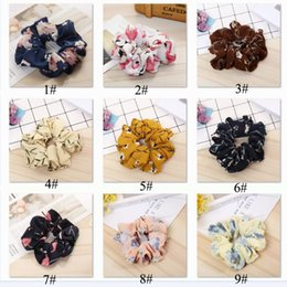 Discount hair accesorios - 18 style Floral Flamingo Headband Design Women Hair Tie Accesorios Scrunchie Ponytail Hair Holder Rope scrunchy basic Ha