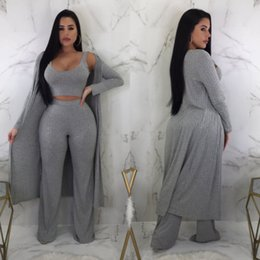 Pink Clothing Women UK - 3Pcs Clothes Set Knit Sets Women Long Sleeve Cardigan Cloak Crop Top Pants Casual Suit Women Autumn Cloting