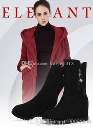 safety work clothing NZ - Women wear knee boots, suede boots, autumn and winter women's clothes, fur, warm black high-heeled shoes, boots and winter shoes