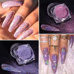 metallic pigment powder UK - 1g Gradient Nail Dipping Powder Holographic Laser Glitter Mirror Chrome Metallic Pigment Nail Art Decorations DIY Shiny Dust