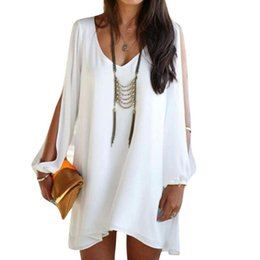 Plus size bathing dresses online shopping - Lady Summer Party Evening Cocktail Short Mini Dress White shirt swim suit cover up plus size bathing suits beach