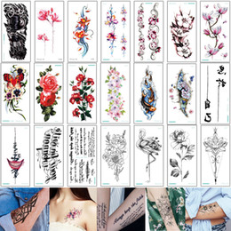 Chinese Decals Stickers Australia - 21*10cm QC Temporary Tattoo Sticker Fake Small Peony Lotus Flower Chinese Arm Tattoo Word for Man Woman Jewelry Chest Skeleton Leg Decal New