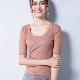 $enCountryForm.capitalKeyWord Australia - Summer New Arrivals Tops for Women Classic O-Neck Short Sleeve Office Ladies Mesh Gauze Shirts Solid Color Pink Black Clothes