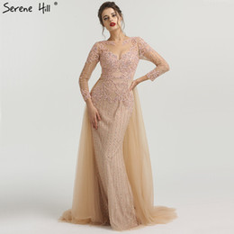 Train Works Australia - Muslim Mermaid Long Sleeves Evening Dresses With Train 2019 Beading Beading Luxury Sparkle Formal Evening Gowns 2019 La6547 Y19051401