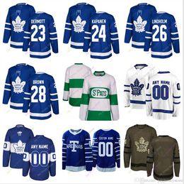 Travis Dermott Kasperi Kapanen Par Lindholm Maglia Connor Brown 2019 Winter Classic Toronto Maple Leafs Home Away New Third Uomini Donne Youth