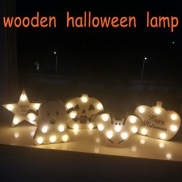 skull home decor wholesale NZ - halloween decoration Wooden Pumpkin Skull Light LED Night Lights Hanging Party Home Decor Decoration Accessorie #ES