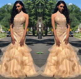 Long prom dresses stones online shopping - Elegant Halter Organza Mermaid Long Prom Dresses Beaded Stones Layered Ruffles Floor Length Formal Party Evening Dresses BC1667