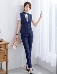 Wholesale Formal Ladies Navy Blue Vest Waistcoat Women Pant Suits Work Wear Sets Business Clothes Office Uniform Styles