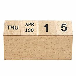 calendar notes UK - Reusable Wooden Calendar Block Creative Eco-friendly Perpetual Calendar Desk Stand Y19062803
