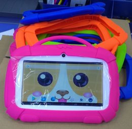china kids tablet pc Canada - Wholesale Kids carton Soft Silicone Silicon Case Protective Cover Rubber with handle For 7 inch Q88 A33 kid dog Tablet pc MID 4 Colors
