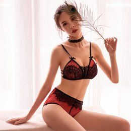 a808791469 2PCS Sets See Through Underwear Lingerie Sexy Bralette Set for Women  Embroidery Floral Lace Deep V Push Up Bra and Thong