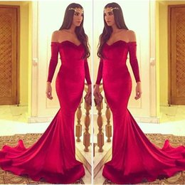 Off Shoulder Mermaid Pageant Dress Red Australia - 2017 Red Mermaid Evening Dresses Simple Off Shoulder Long Sleeves Prom Dress Arabic Vestido De Soiree Pageant Gowns Girl Prom Party Dresses