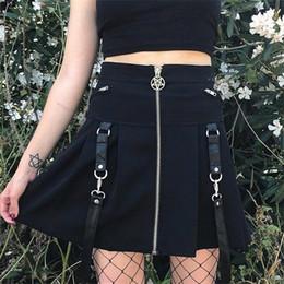 $enCountryForm.capitalKeyWord NZ - Women Mini Skirts Punk Gothic Hip Hop Sexy Club Aline High Waist Solid Zipper Button Rock Summer Female Fashion Cool Goth Skirt Y190411