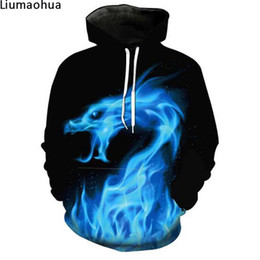$enCountryForm.capitalKeyWord Australia - New Black Hoodie Sweatshirt 3D Print Blue Flame Dragon Harajuku Street Men's Hoodie Sweatshirt Winter Warm Jacket