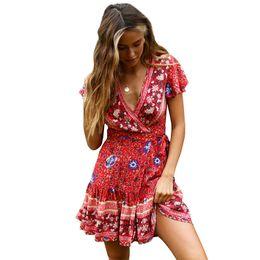 0dc69f8ffe66 2019 Vestiti da donna V-Collar Sexy Manica corta Mini Bohemian Beach  Holiday Stile etnico Abito donna Abiti casual Flora Abiti stampati