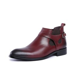 Mens shoes dress italy online shopping - Classic Buckles Mens Real Leather Italy Derby Oxfords Shoes Wedding Dress Party Shoes Motorcycle Ankle Boots Sapatos