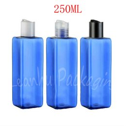 bottle shampoo UK - 250ML Blue Square Plastic Bottle Disc Top Cap , 250CC Shampoo   Lotion Packaging Bottle , Empty Cosmetic Container ( 20 PC Lot )