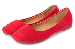 Woman shoes size 31 online shopping - new style Suede flat shoes square head red women s shoes commuter simple flat wedding shoes model N size