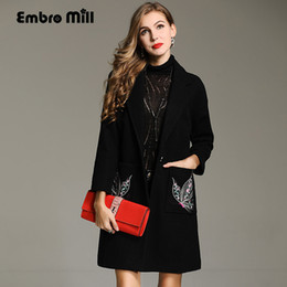 floral trench coat women Australia - Embro Mill winter trench coats for women Windbreaker plus size Elegant lady wool embroidery floral loose overcoat female M-4XL