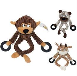 Ingrosso 3 colori che rosicchiano giocattoli animali di velluto a coste animali domestici giocattoli durevoli 100% cotone naturale peluche masticazione giocattoli per cani