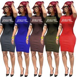 wholesale plus size clothes Australia - Women plus size mini dresses casual short skirts designer summer clothing letter short sleeve fashion bodycon dress free shipping 962