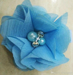 Chiffon Flower Hair Clips Wholesale Australia - TURQUOISE BLUE Chiffon Flowers With Pearl Rhinestone Center Artificial Flower Fabric Flowers Children Hair Accessories Baby clips Flower