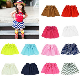 Discount mini skirt patterns - INS Baby girls Bow Pleated skirts Solid color Wave pattern infant Newborn skirt 2019 Summer fashion Boutique kids Clothi