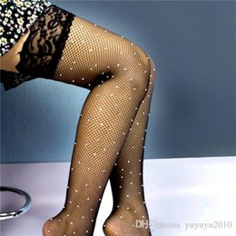 15dd5cdcf6d58 Women's Sexy Lace Mesh Rhinestone Stockings Over Keen High Stockings  Fishnet Shiny With Diamond Stockings Plus Size sffs006