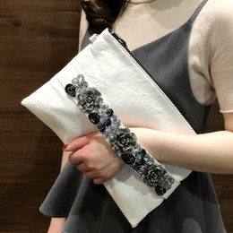 Antique Zippers Australia - DOYUTIG Brand Women Envelope Evening Clutch Bags Antique Crystal Flower Wedding Bags Female Pu Leather Big Totes & Purse A231