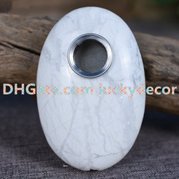 wholesale smoking stones Australia - 10pcs Howlite Oval Shaped Meditation Palm Stone Gemstone Smoking Pipe Crystal Healing Reiki Stress Relief Gift - Anxiety Stone Tobacco Pipe
