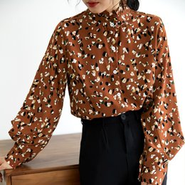 chiffon fan 2019 - Real Shot Lantern Sleeve Wooden Ear Floral Collar Shirt Women Long Sleeve Han Fan Loose Shirt cheap chiffon fan