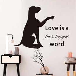 word stickers for walls NZ - Love Is A Four Legged Word Vinyl Wall Sticker For Kids Room Labrador Pet Dog Vinyl Waterproof Wall Art Decor Home Decoration