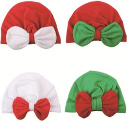 baby pullover NZ - Hot Sale New European And American Christmas Baby Color Contrast Bow Knot Indian HAT Baby Pullover Hat