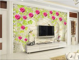 house vine UK - 3D Wallpaper Wall Stickers Photo Custom 3d high definition jade rose flower vine background wall decoration home decor wall art pictures
