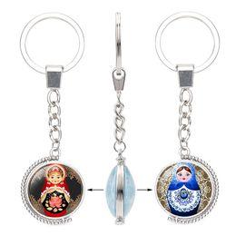 $enCountryForm.capitalKeyWord Australia - New Matryoshka Double sided Rotable Keychains Glass Cabochon Tradition Russian Doll Key chains Ring Fashion Jewelry accessories