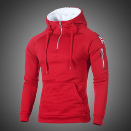 sweat à capuche rouge  achat en gros de-news_sitemap_homeHip Hop Zipper Hoodies Sweat HommesSpring Casual Drapeau Imprimer Pull Hoodies Sweats Homme Solide Streetswear Rouge Noir