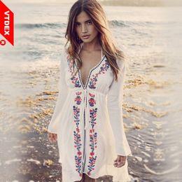 $enCountryForm.capitalKeyWord Australia - 2018 Women Beach Cover Up White Embroidery Vintage Swimwear Ladies Tunics Kaftan Bikini Dress Robe De Plage J190623