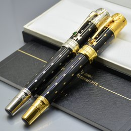 Fine art pens online shopping - Luxury Limited Edition Elizabeth MB roller ball pen with unique fine carving stationery office supplies write brand pens for best women gift