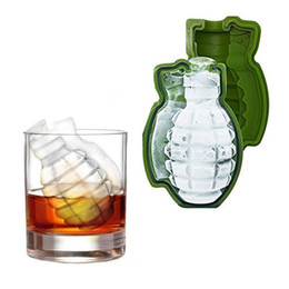 food grade silicone mold ice NZ - 2pcs Ice cube Creative Bar Accessories Green 3D Grenade Large Food Grade Silicone Ice Mold Whiskey Ice Maker Kitchen tool