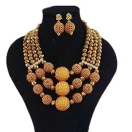 Bracelets Big Balls UK - Dudo 18.8 Inch Gold Nigerian Wedding Beaded Necklace Set African Style Big Balls Bridal Jewelry Set With Bracelet and Earrings