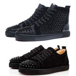 Chaussures De Luxe Spike Kırmızı Alt Sneakers Deri Ayakkabı Süet Nefes Dantel-Up Moda Rahat Ayakkabılar Erkekler Kadınlar Boyutu Kutusu Ile Toz Torbası indirimde