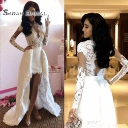 Detachable lace neckline weDDing Dress online shopping - A Line Long Sleeves Wedding Dresses With Detachable Train Sheer Neckline High Low Lace Wedding Dress Sexy Hollow Back Bridal Gowns