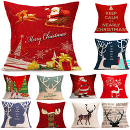 $enCountryForm.capitalKeyWord NZ - 1PC Printed Christmas Pillow Case Santa Deer Cotton Linen Home Christmas Decor Pillowcases 13 Styles