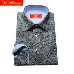 $enCountryForm.capitalKeyWord Australia - custom tailor made Men's bespoke shirts business formal wedding ware bespoke blouse grey cotton printed lace floral sexy