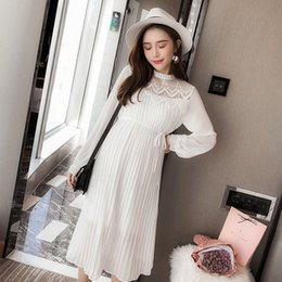 9405c249fe7 9310  Hollow Out Lace Patchwork Chiffon Maternity Party Dress Spring Summer  Korean Fashion Clothes For Pregnant Women Pregnancy Y190522