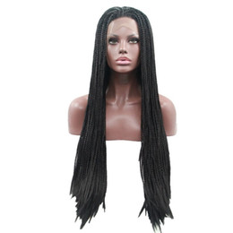 Micro Braided Wigs UK - Hot Selling Micro Braid Wig with Baby Hair Black Synthetic Lace Front Wig Heat Resistant Fiber Braided Box Braids Wig for Black Women