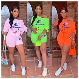 Cropped Tees Australia - S-3XL Champion Brand Designer Bandage Tees Shorts Set Summer Tracksuit crop top T-Shirt + Shorts Women 2 Pieces Outfits sportswear A51301