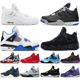 Wholesale 4 Tattoo Singles Day Travis Scotts Raptors Mens Basketball Shoes s White Cement Denim Blue Fire Red men sports sneakers designer trainers